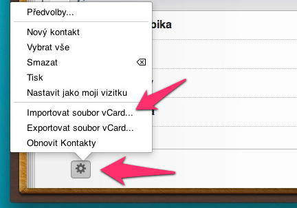 iCloud import kontaktov