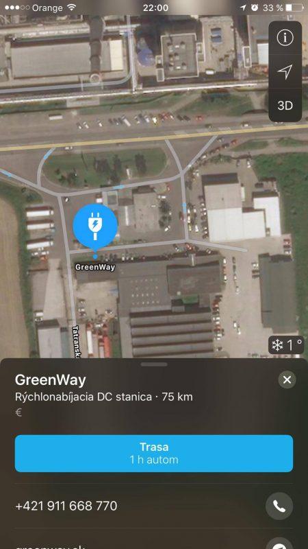 Nabíjacia stanica GreenWay v Apple Maps